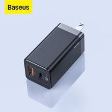 Baseus – chargeur USB 65W GaN, prise US, Charge rapide 4.0 3.0 PD, pour téléphone, deux Ports USB, pour samsung, iphone, ordinateur portable