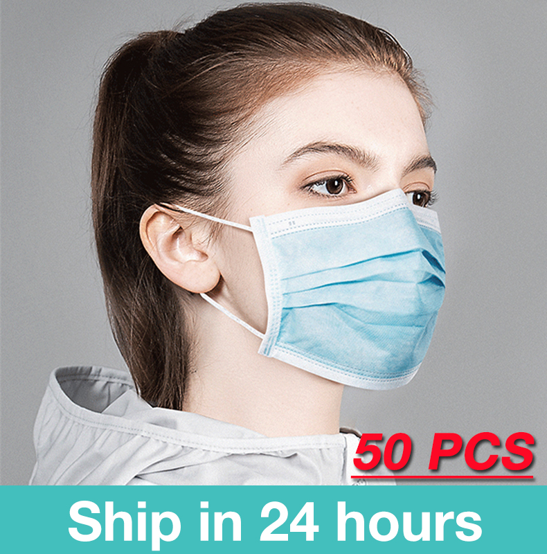 3-layer Mask 50/100pcs Face Mouth Masks Non Woven Disposable Anti-Dust Meltblown Cloth Masks Earloops Masks