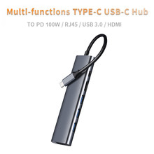 FK-C0603 6 w 1 typ C na HDMI-kompatybilny RJ45 z USB 3.0 PD Adapter rozdzielacz stacja dokująca akcesoria do notebooków USB-C Hub