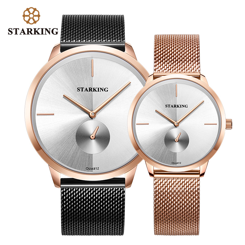 STARKING Lovers Watch Quartz Minimal Watch Men Women Stainless Steel Mesh Band Couples Watches Set Valentine Watches Relogios