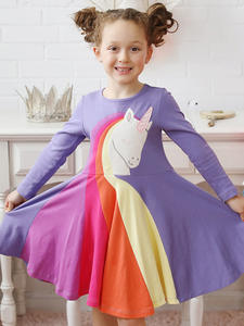 Unicorn A-Line-Princess-Dress Long-Sleeve Pink Girls Kids Spring Party Baby Children