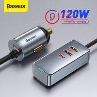 Baseus 120W PD Auto Ladegerät Schnell Ladegerät QC 3,0 PD 3,0 Für iPhone 12 Samsung Typ-C USB ladegerät Tragbare USB Telefon Ladegerät