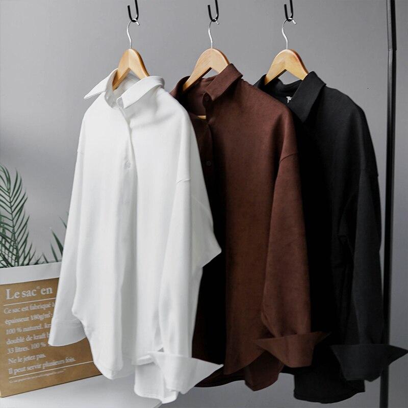White Black Shirts Ladies Long Sleeve Polo Shirts Fall 2019 Women Tops Korean Fashion blusas mujer