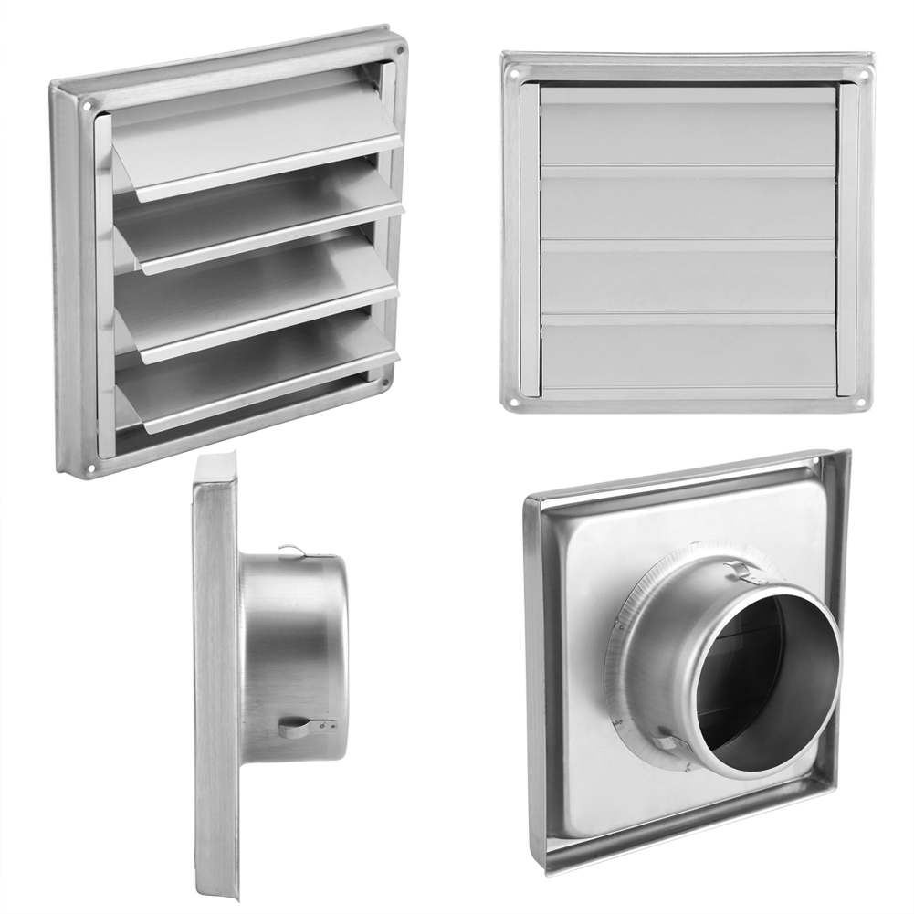 Stylish Durable 100mm Square Air Vent Duct Grill Stainless Steel Square Wall Vent With Anti-Draft Gravity Flaps Screw Fixings