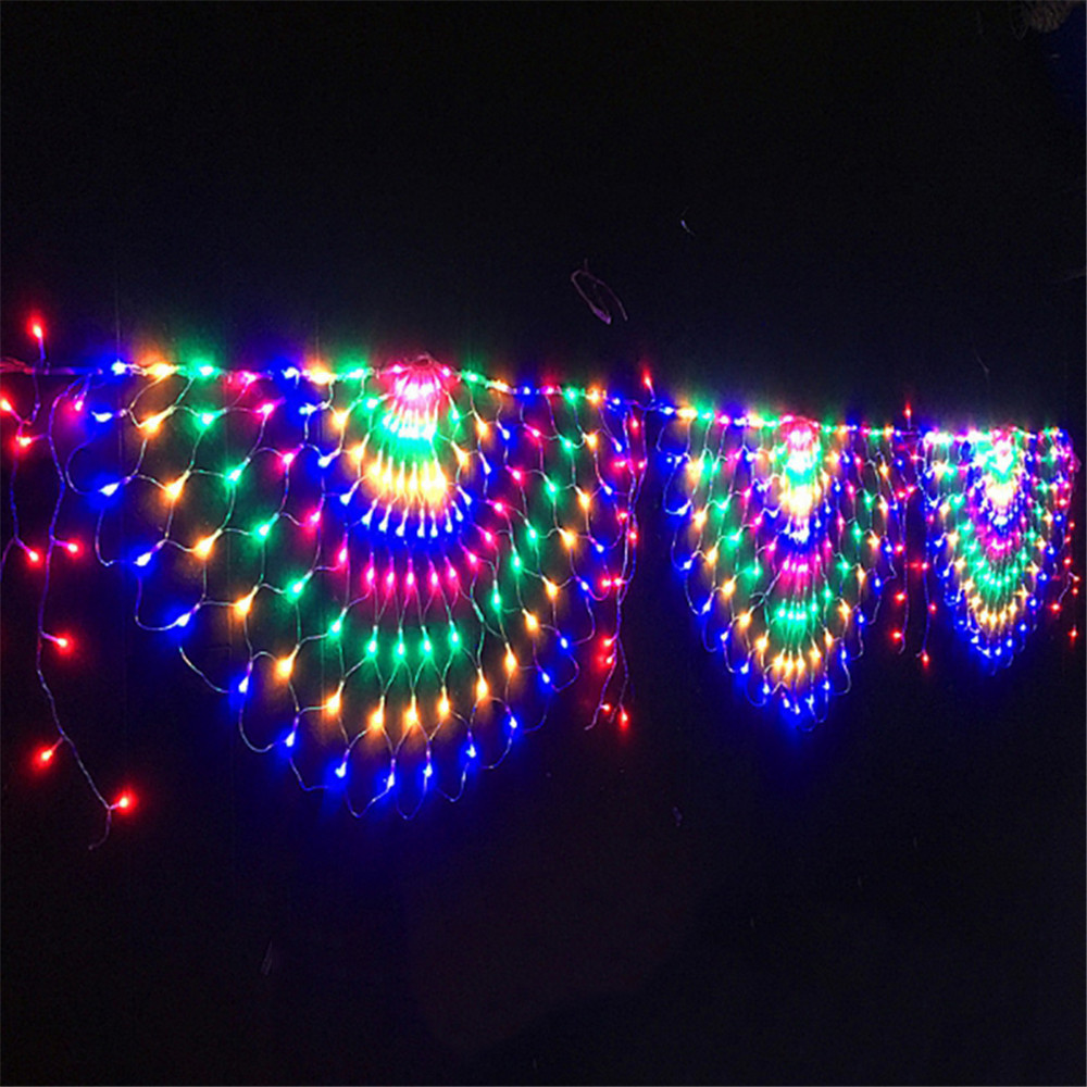 EU US Plug 3M 3 Peacock Mesh Net Led String Lights Outdoor Fairy Garland for Wedding Christmas Wedding New Year Party Decoration