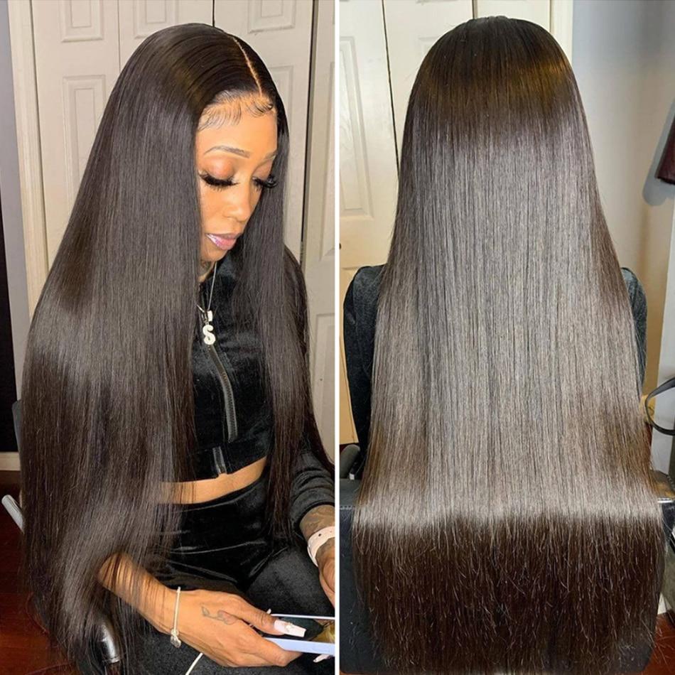 32 34 polegada cabelo humano longo em linha reta brasileiro barato virgem remy 4x4 encerramento peruca 150% densidade 13x4 laço fronatal 100% perucas humain