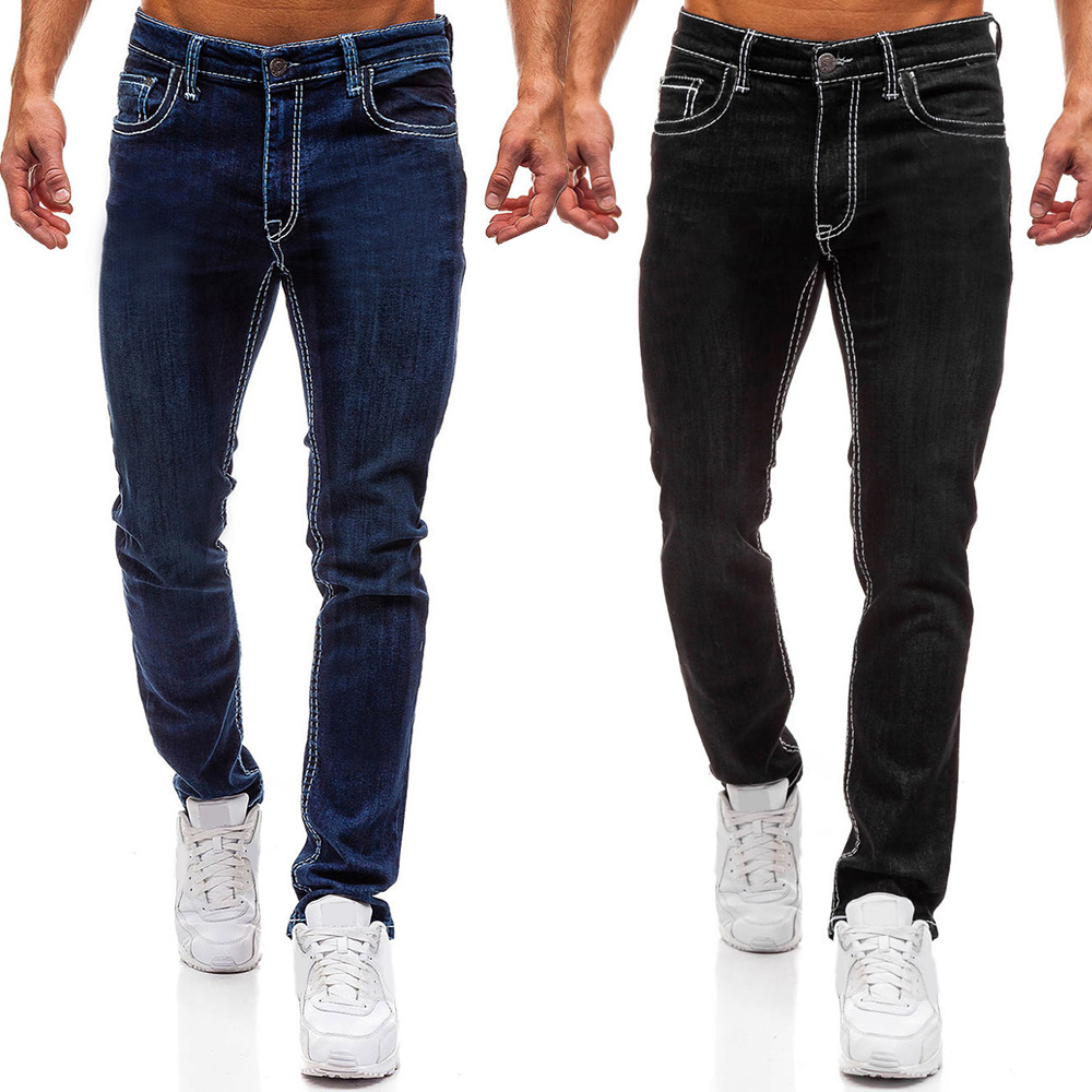 Basic Jeans Men Full Length Regular Dark Blue Black Denim Trousers Casual Mens Jeans Homme Streetwear Male Straight Pants D30