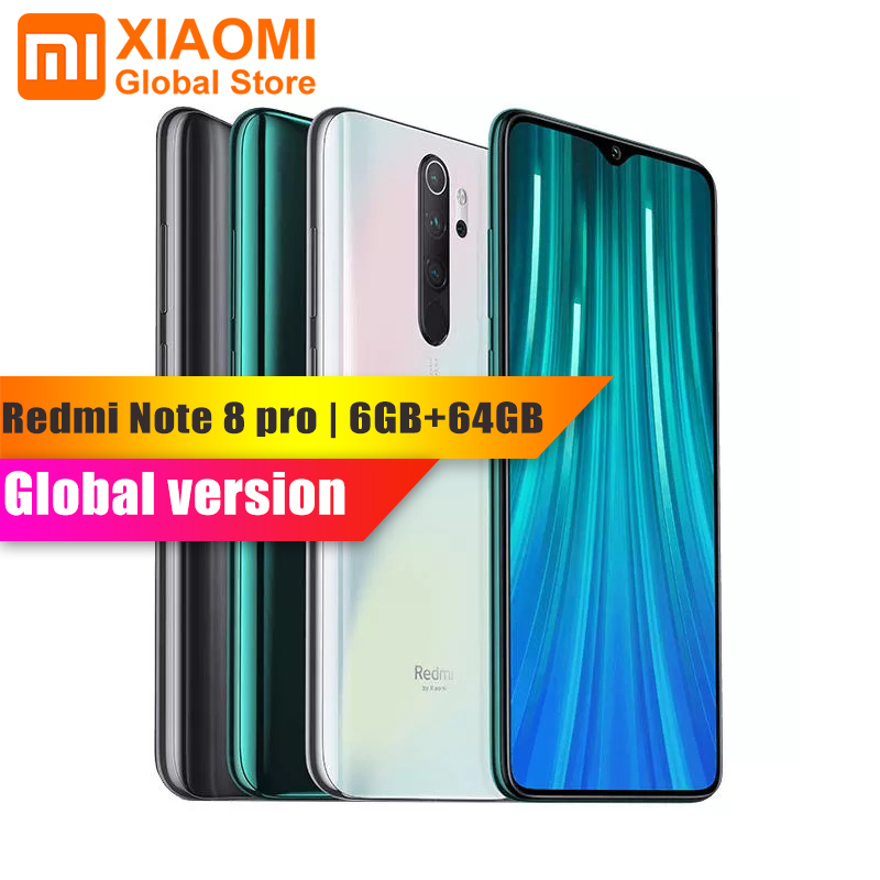 Global Version Xiaomi Redmi Note 8 Pro 6GB 64GB NFC Mobile Phone Helio G90T Quick Charging 4500mAh 64MP Camera 6.5