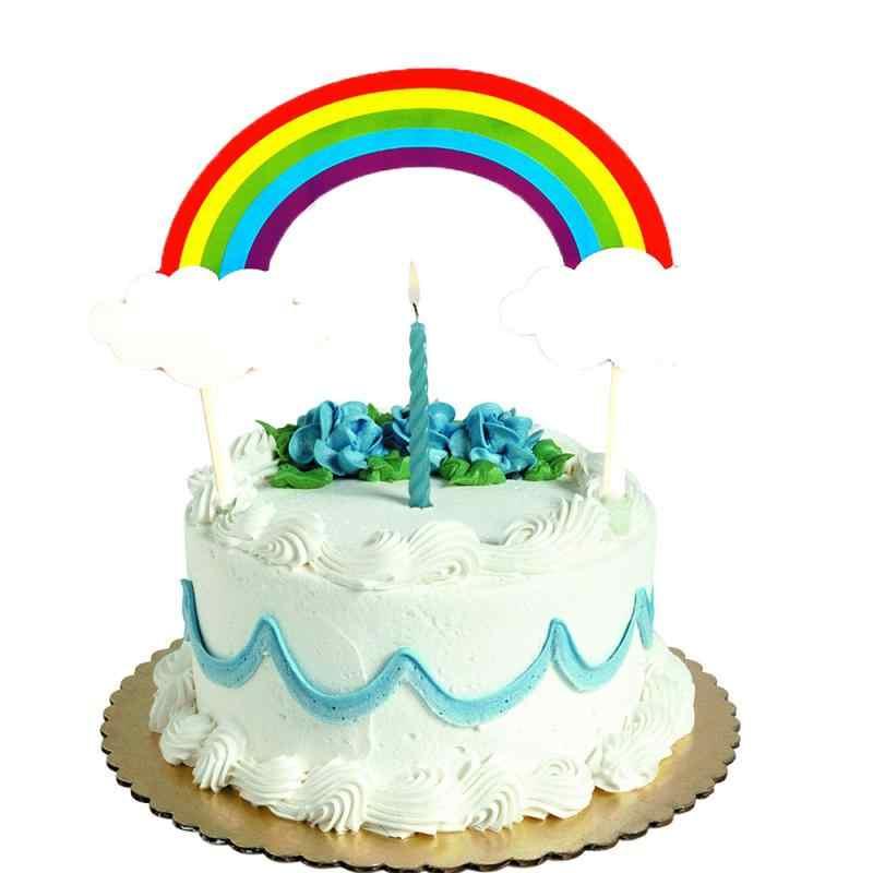 สีสันสายรุ้งเค้กแทรกขนมวันเกิดParty Cloudแทรกธง
