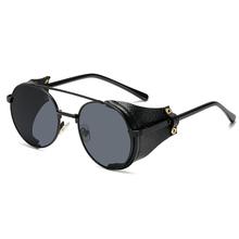 Moda Steampunk markowe okulary przeciwsłoneczne projekt metalowe okrągłe okulary mężczyźni kobiety Vintage Punk okulary UV400 odcienie óculos de sol tanie tanio kepdomsa ALLOY Dla dorosłych TF719 A Z poliwęglanu 52 mm 50 mm