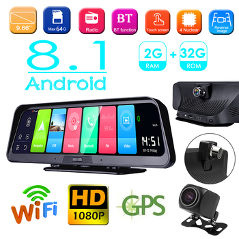Phisung Android 8.1 Car DVR Camera 9.66 inch Dashboard Camera 4G WiFi ADAS GPS Navigation Night Vision Dashcam with Rear View Ca image