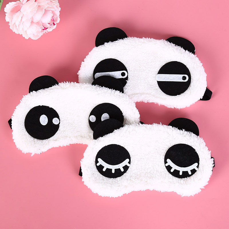 Cute Face White Panda Eye Mask Eyeshade Shading Sleep Cotton Goggles Eye Mask Sleep Mask Eye Cover Travel Accessories