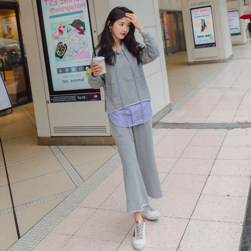 Photo Shoot INS Light Gray Mock Two-Piece Hooded Embroidered Hoodie Women's High-waisted Wide-Leg Straight-Cut Casual Pants Play