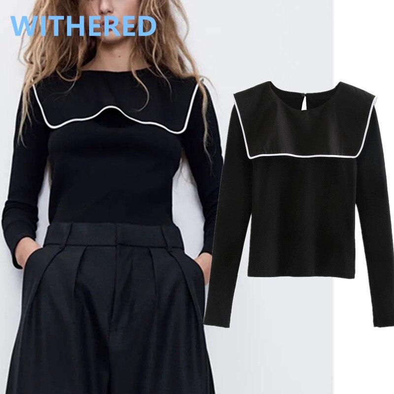 Withered New Spring England Splicing Peter Pan Collar Vintage Knitted T Shirt Women Harajuku Tshirt Camisetas Verano Mujer 2020