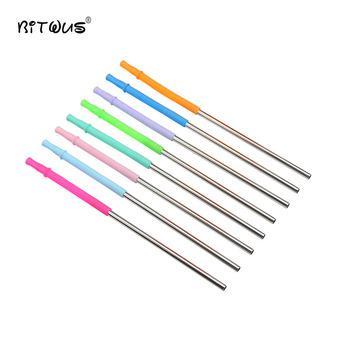 EcoSlicone+Stainless Steel Combination Straws Metal Party Drinking Straws Long Sliver Straight Straw Set Bar ar Cocktail 21.5 cm