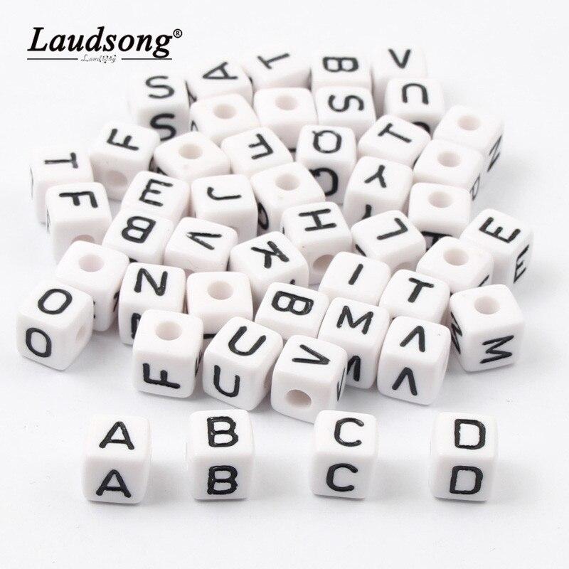 200 pièces 6/10 MM blanc carré acrylique lettre perles pour bricolage enfants jouet éducatif nom Bracelet entretoise perles
