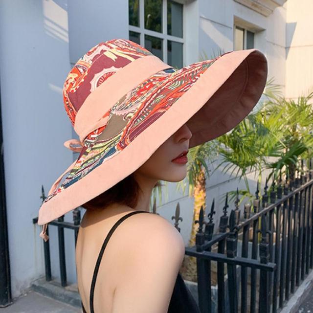 Anti-UV Big Brim Cotton Linen Sun Hat For Women Vacation Summer Foldable Sunhat Korean Beach Sun Hats 20