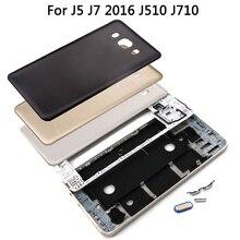 Pour Samsung Galaxy J5 J7 2016 J510 J710 avant milieu cadre batterie couverture arrière + bouton latéral caméra lentille verre ensemble complet boîtier