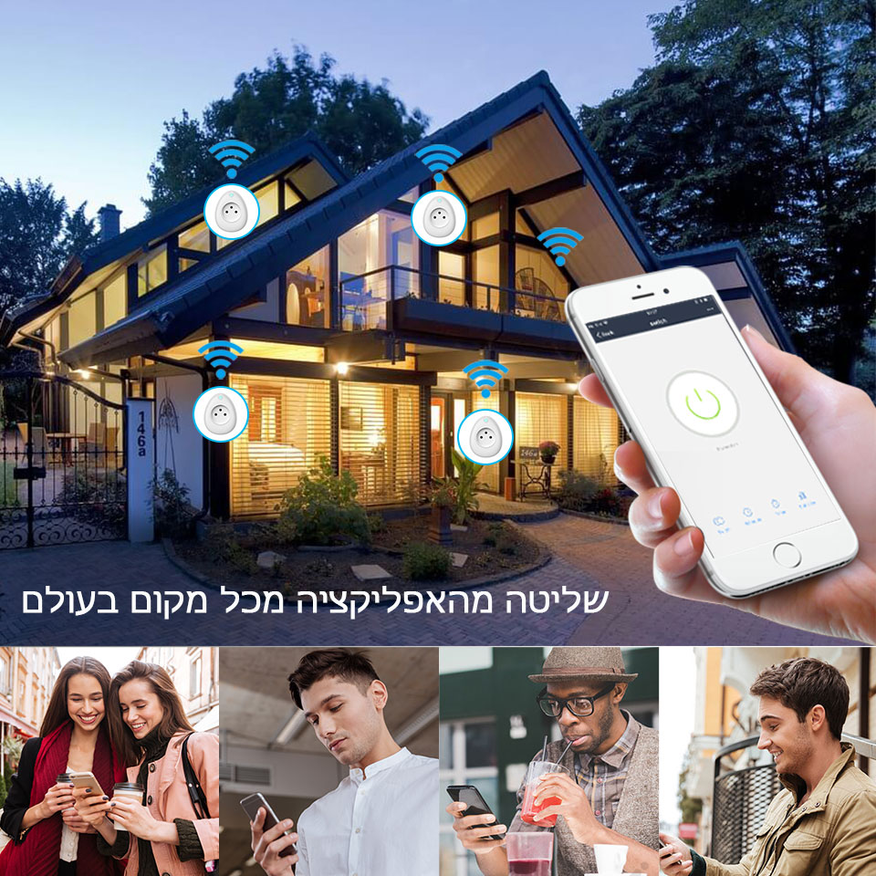 Israel Smart USB Socket 15A with Power Monitoring WiFi Plug Voice Remote Control Work with Alexa Google home Tuya Smart life App