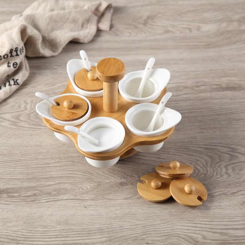 6 Buah/Set Kayu Bambu Cina Keramik Bumbu Bumbu Toples Set Garam Merica Bumbu Semprotan Memasak Dapur Alat Spice