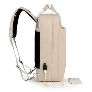 Image 4 - 2019 frauen USB Ladung Laptop Rucksack Tasche 15 15,6 zoll Notebook PC Tablet Rucksack Daypack für Macbook Dell HP HUAWEI