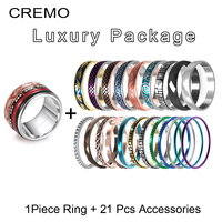 Cremo Love Stainless Steel Rings Women Cocktail Rotatable Interchangeable Filled Accessories Wedding Band Inner Ring Femme