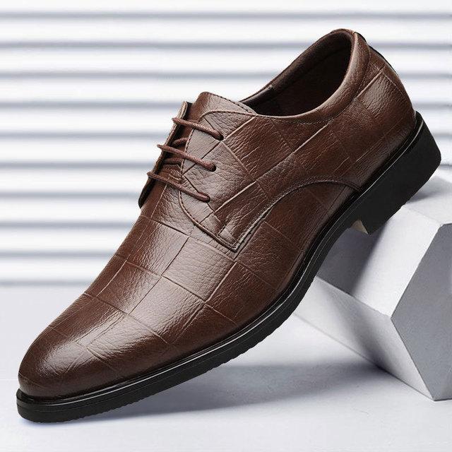 Mazefeng Men Leather Formal Shoes Lace Up dress shoes Oxfords Fashion Retro Shoes Elegant work Footwear Business Plus Size 38-48