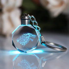 LED Light Game of Throne Souvenir Crystal Key Chain Laser Engraved Glass Keychain with Change Colors Drop Shipping Keyring(China)
