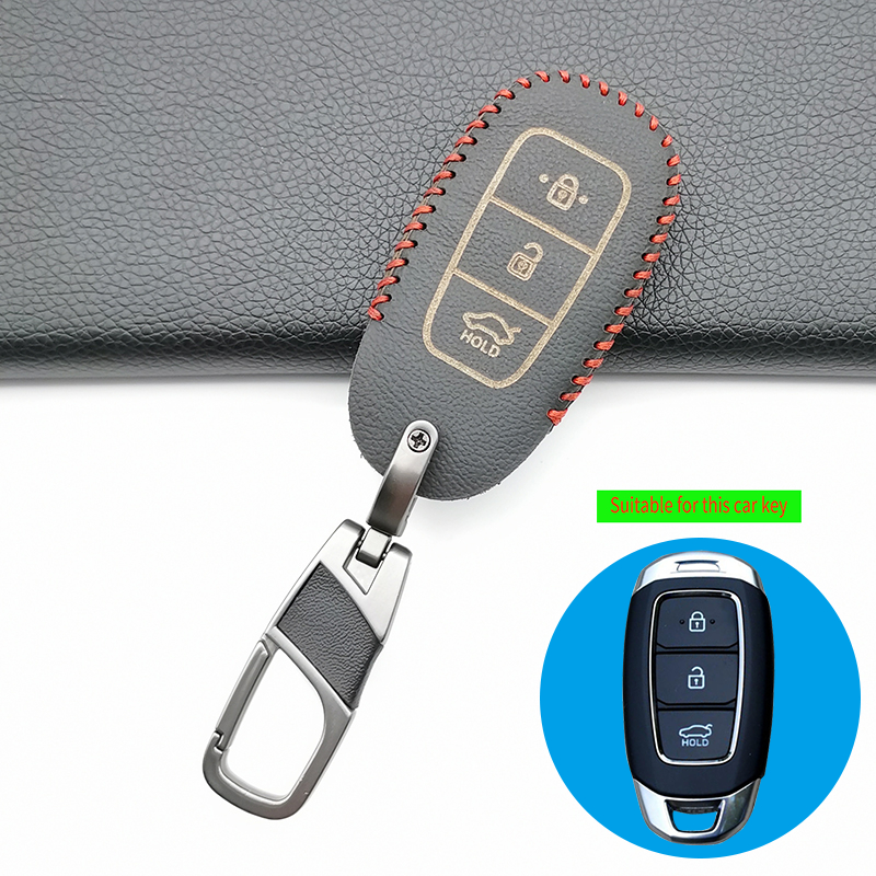 Leather Car Key Case For Hyundai <font><b>Santa</b></font> <font><b>Fe</b></font> <font><b>2019</b></font> <font><b>TM</b></font> I30 2018 Grandeur Azera Elantra Accent Solaris Keychain Holder Protector Cover image