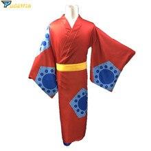 Disfraz de Cosplay de una pieza de Wano Country Luffy Kimono