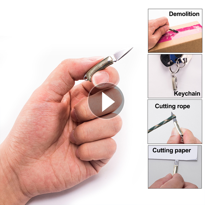 MIni Key Chain Knife Shell Necklace Folding Blade Knife Mini Pocket Wallet Keychain Knives Survival EDC Tool Cutter Peeler