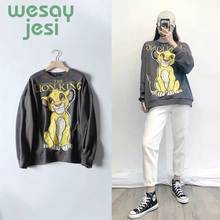 цена на Sweatshirt women high street vintage lion cute printing o-neck pullover oversize terry cotton pullovers women tops