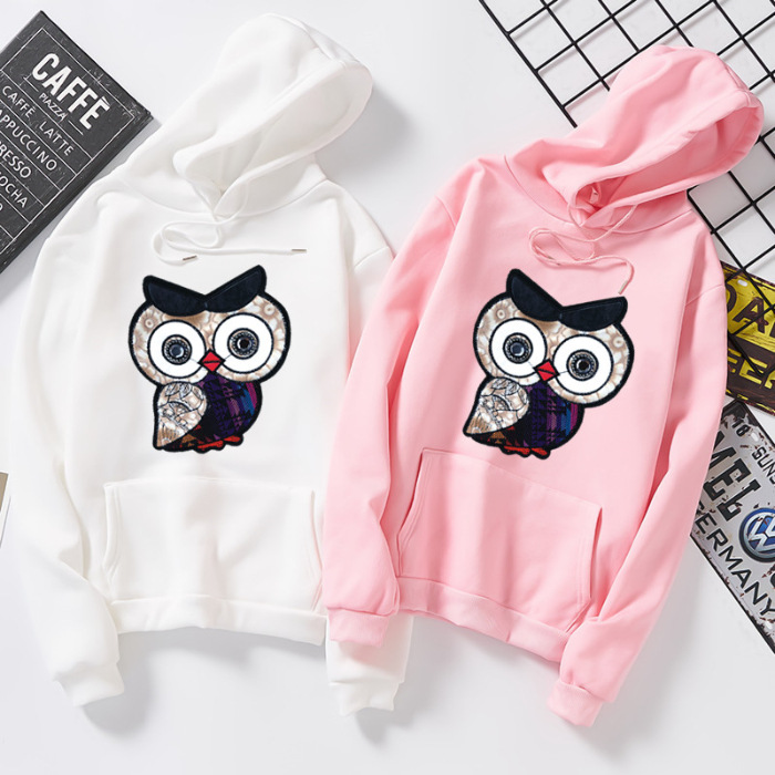 Owl Sweatshirts Female Hoodie Pink Black Graphics Hoodies Women Long Sleeve Hoody For Women Autumn Oversized  Hooded Sweatshirt