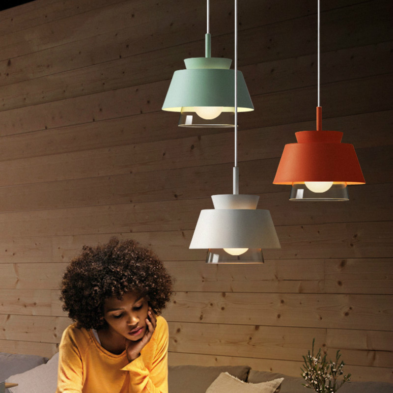 Modern Iron Chandelier Color Pendant Led Lighting Indoor Lighting Restaurant Coffee Hall Aisle Iron Glass Hanging Light Fixture