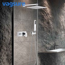 2/3 way Concealed Brass Chrome Shower Bath Faucet Set Rainfall Wall Shower Tap Mixer System Swivel Sprout For Bathroom Shower golden rainfall shower faucets set brass wall mounted shower with hand shower mixer for bathroom