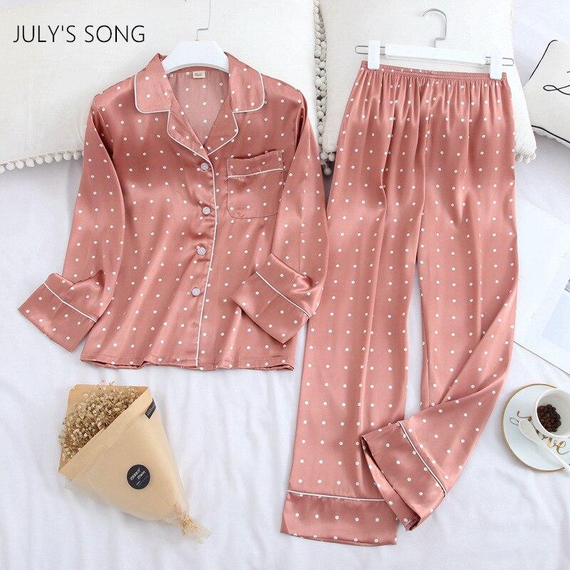 JULY'S SONG Rosa Dot Pyjamas Set 2 Stück Eis Seide Casual Weibliche Druck Mädchen ong Hülse Hosen Herbst Frühling Nachtwäsche