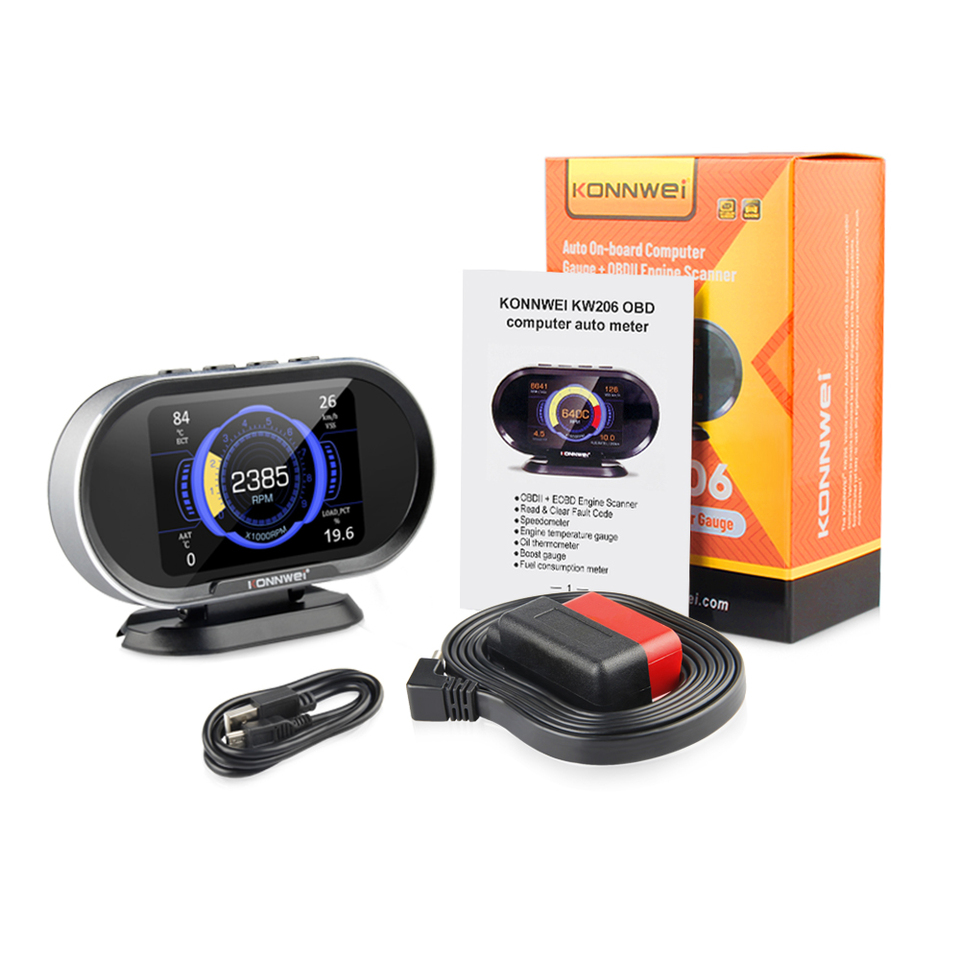 KONNWEI KW206 Obd 2 Automobile On board Computer Car OBD2 Scanner Fuel Consumption Water Temperature Gauge HUD Digital Display|Code Readers & Scan Tools| - AliExpress