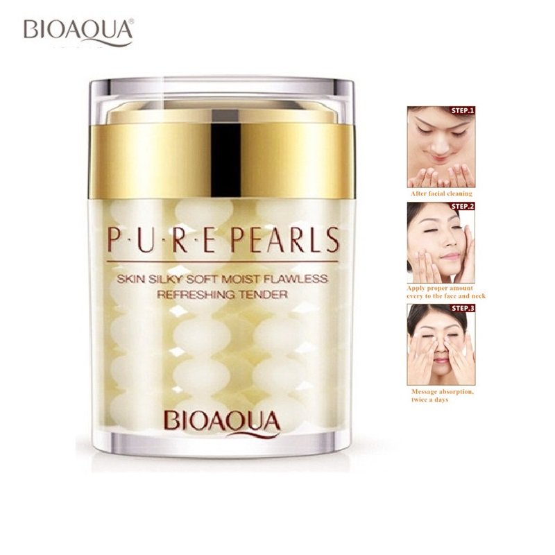 BIOAQUA Pure Pearl Essence Face Cream Whitening Cream Moisturizing Anti Wrinkle Face Serum Facial Acne Scar Removal Skin Care 60