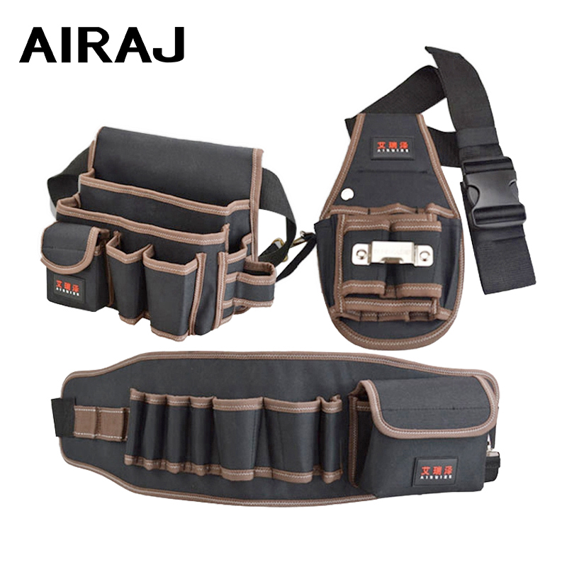 AIRAJ Portable Belt Bag Double Oxford Cloth Waterproof Electrician Tool Bag Multifunctional Tool Storage Toolkit With Belt