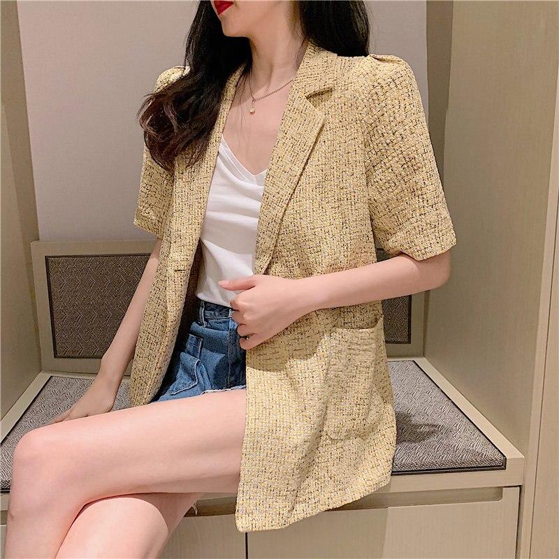 HziriP Thin Summer Short Sleeves Brief Streetwear Casual Elegant 2020 Chic Fashion Hot Women Loose All Match Fashion Blazers