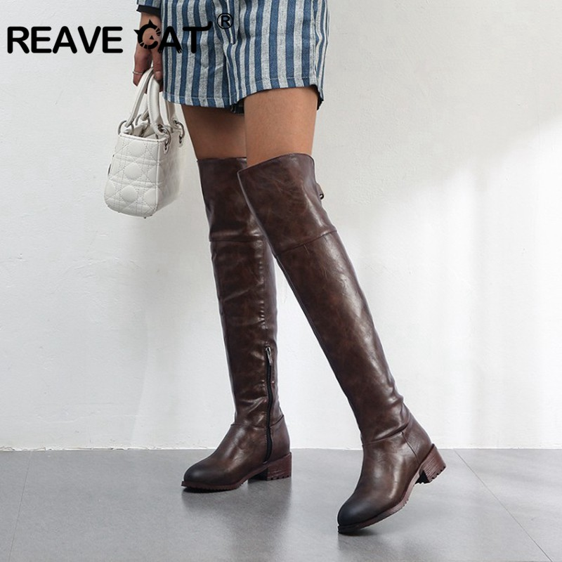 REAVE CAT New Women leather boots Over The Knee Boots low heels Slim long boots black brown Lady Winter warm shoes high quality