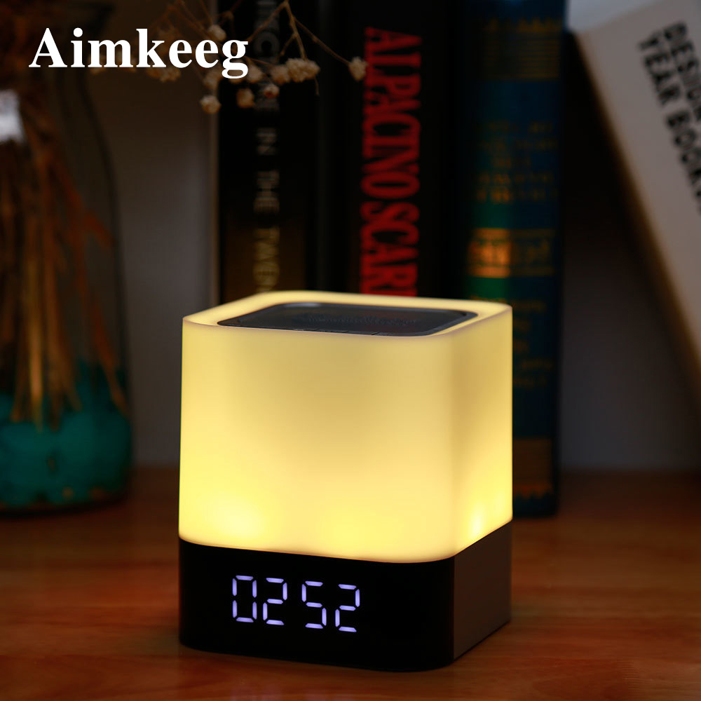 LED Alarm Clock USB Wireless Bluetooth Speaker LED Digital Electronic Alarm Clock Touch Dimming Table Lamp Colorful Night Light