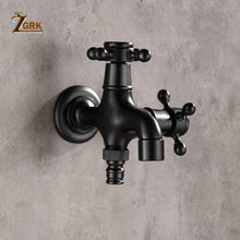 ZGRK High quality Black Oil Rubbed Bronze double using washing machine faucet bathroom corner faucet tap garden outdoor mixer