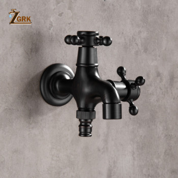 ZGRK High quality Black Oil Rubbed Bronze double using washing machine faucet bathroom corner faucet tap garden outdoor mixer wall mounted black oil rubbed bronze cross handle washing machine faucet garden single cold faucet zav340