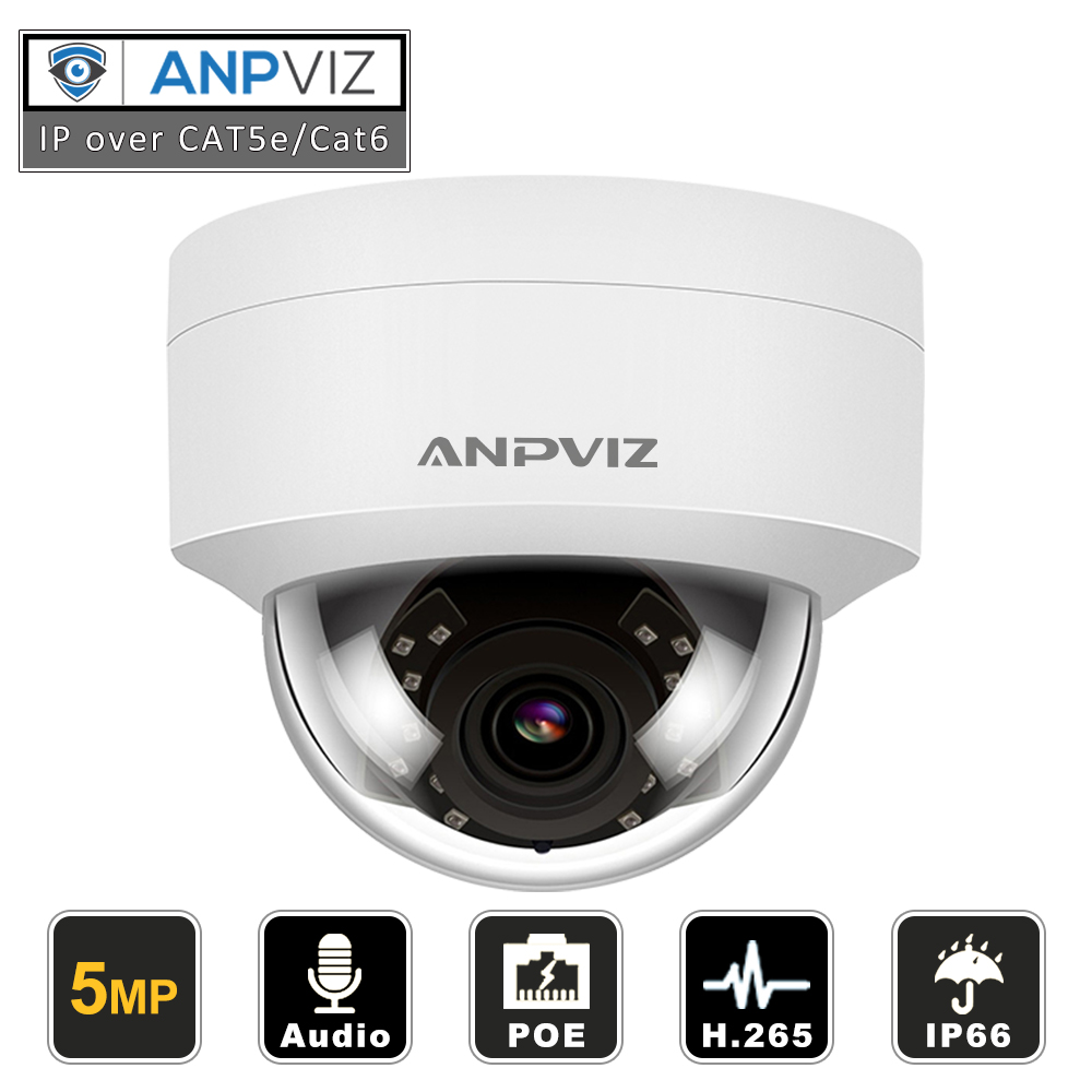 Anpviz H.265 PoE IP Kamera 5MP HD Outdoor IR30m Nachtsicht Audio Dome Sicherheit Video Überwachung Kamera Hikvision Kompatibel