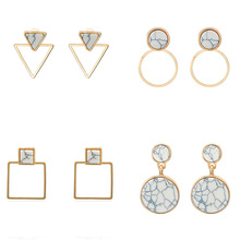 New Korean Earrings 2019 For Women Natural Stone Round Square Stud Fashion Earring Gold Big Geometric Jewelry Wholesale недорого