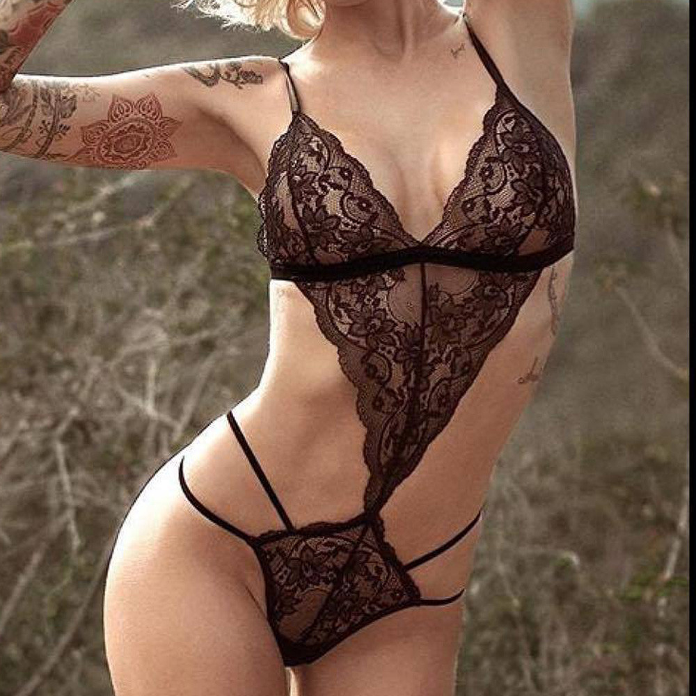 Women <font><b>Sexy</b></font> Lingerie Lace Teddy features Plunging Eyelash and Snaps Crotch Sleepwear <font><b>bodydolls</b></font> image