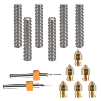 6pcs Extruder Nozzles Heads With Tubes For Anet A8 MK8 Reprap as 3D Printer Part Accessories