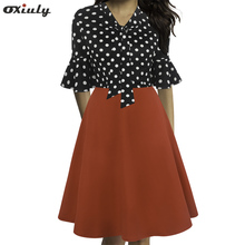 Women Half Sleeve Polka Dot Floral Print Ladies Bow Tie V Neck Party Flare Midi Casual A-Line Dress Female Vestidos