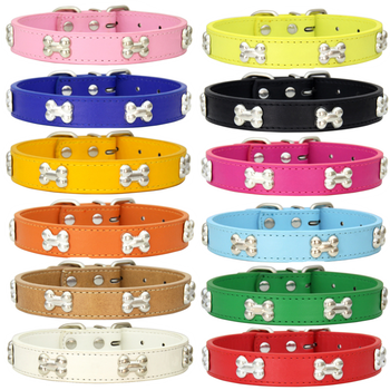 Pet Dog Collar Bone Leather Durable Pet Supplies Accessories Neck Strap Collar for Dog Puppy Pug Collars for Small Large Dogs pu leather solid soft colorful pet dog collar for small medium large dogs neck strap adjustable safe puppy kitten cats collar